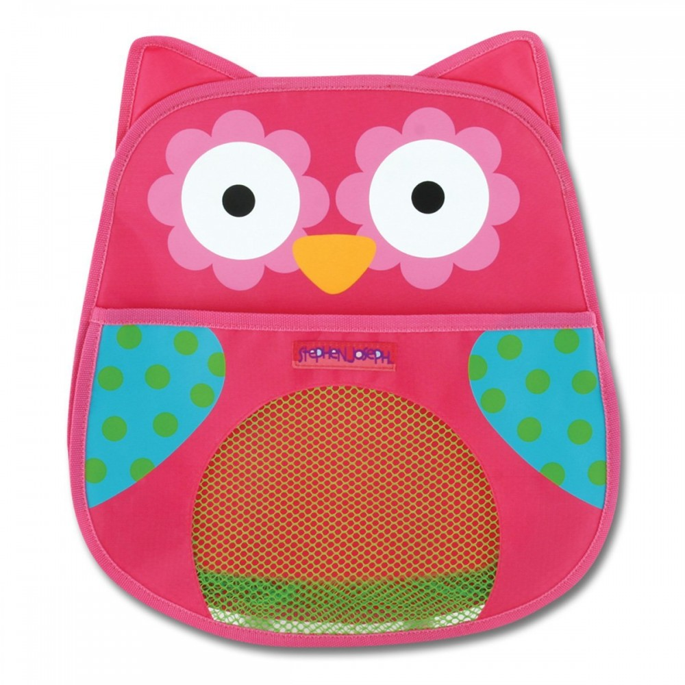 rangement pour jouets de bain hibou rose de stephen. Black Bedroom Furniture Sets. Home Design Ideas