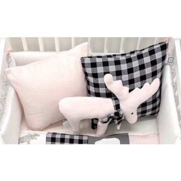 Coussin Chevreuil rose- Collection Chalet rose