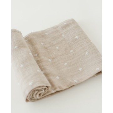 Couverture en mousseline de coton - Taupe Cross