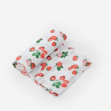 Couverture en mousseline de coton - Strawberry Patch